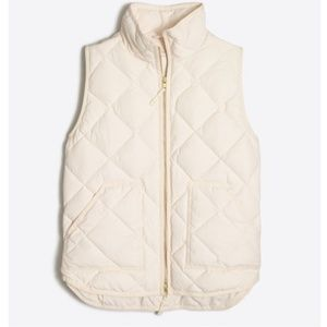 J CREW NWT Ivory Quilted Excursion Vest Size S